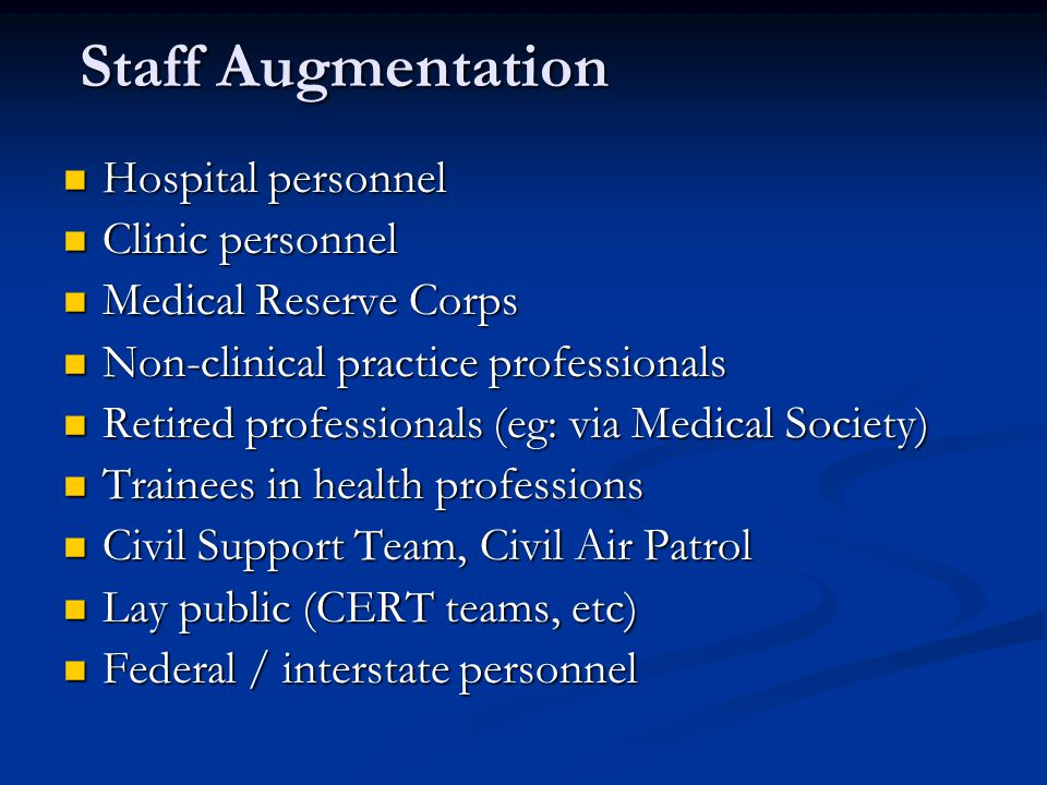 Staff Augmentation Hospital personnel Clinic personnel
