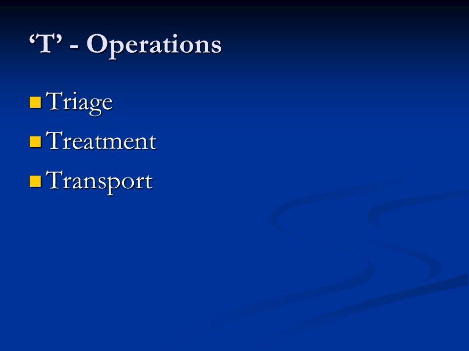 'T' - Operations Triage Treatment Transport