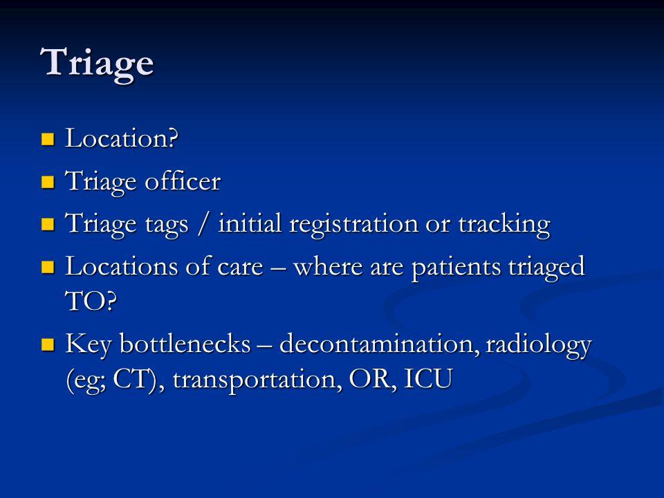 Triage Location Triage officer