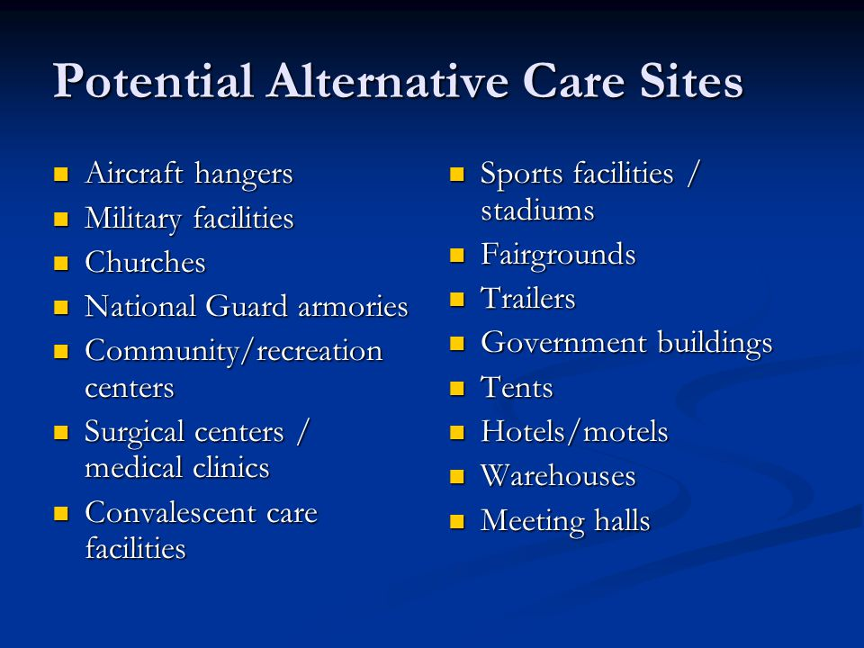 Potential Alternative Care Sites
