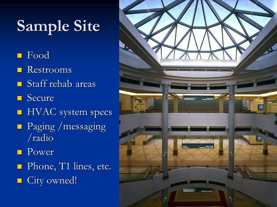 Sample Site Food Restrooms Staff rehab areas Secure HVAC system specs
