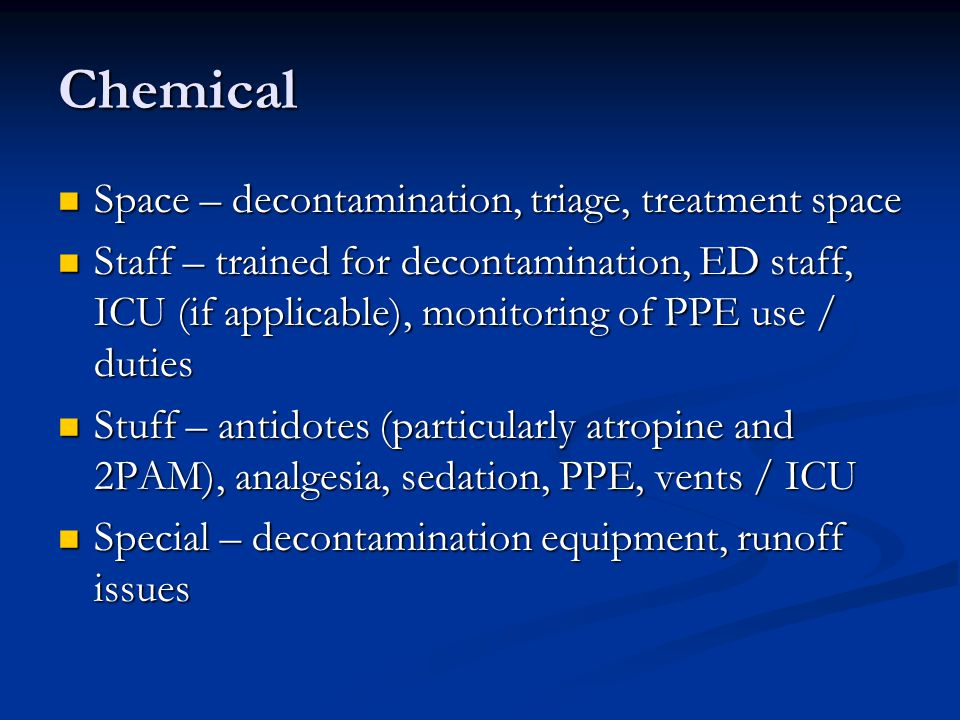 Chemical Space – decontamination, triage, treatment space