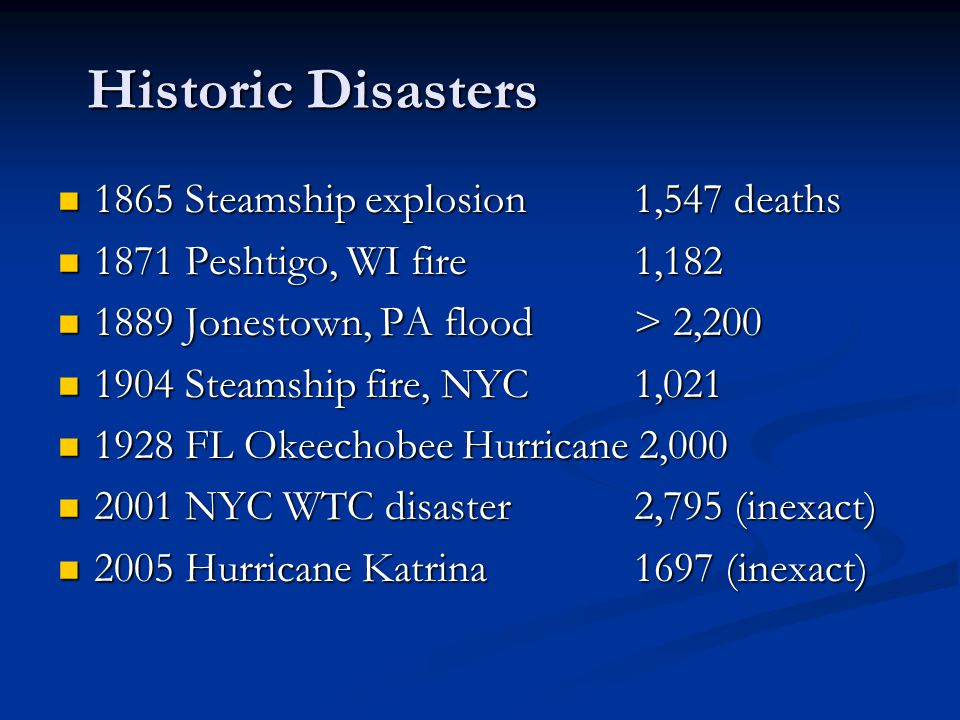 Historic Disasters 1865 Steamship explosion 1,547 deaths