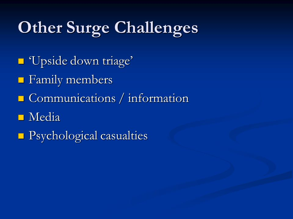 Other Surge Challenges
