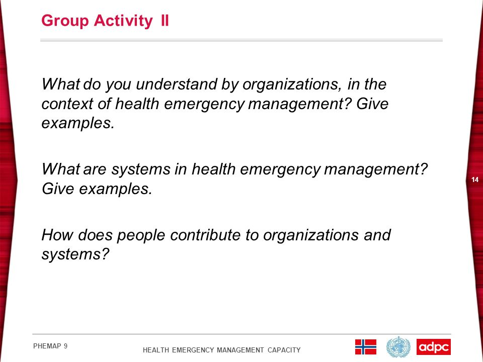 Group Activity II What do you understand by organizations, in the context of health emergency management Give examples.
