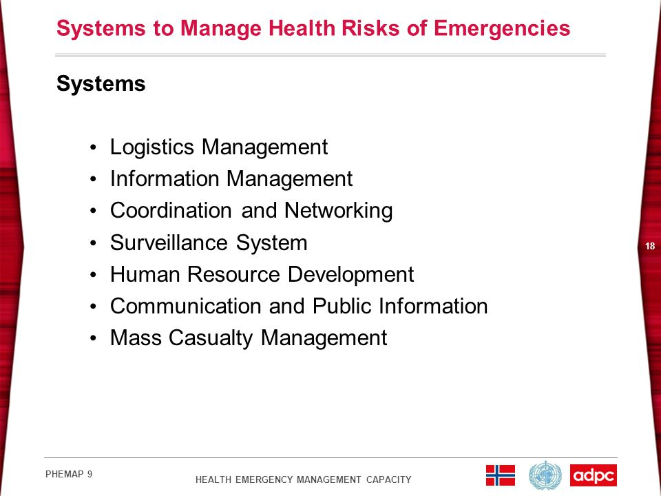 Systems to Manage Health Risks of Emergencies