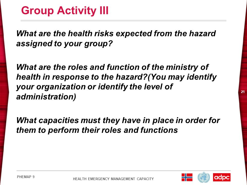 Group Activity III What are the health risks expected from the hazard assigned to your group