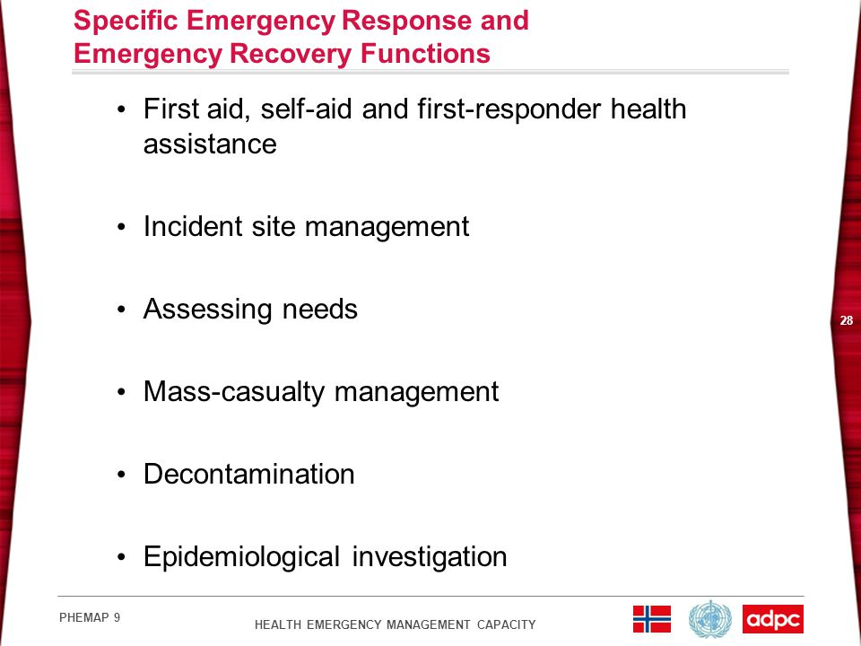 Specific Emergency Response and Emergency Recovery Functions