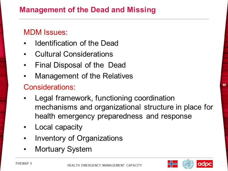 Management of the Dead and Missing