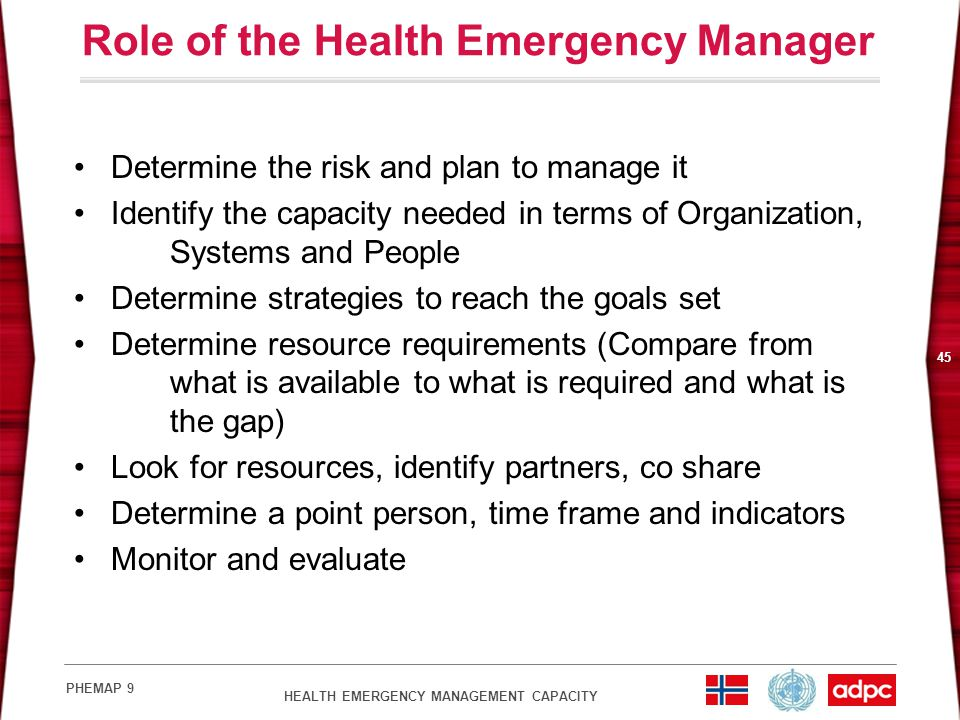 Role of the Health Emergency Manager