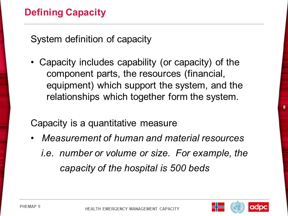 System definition of capacity