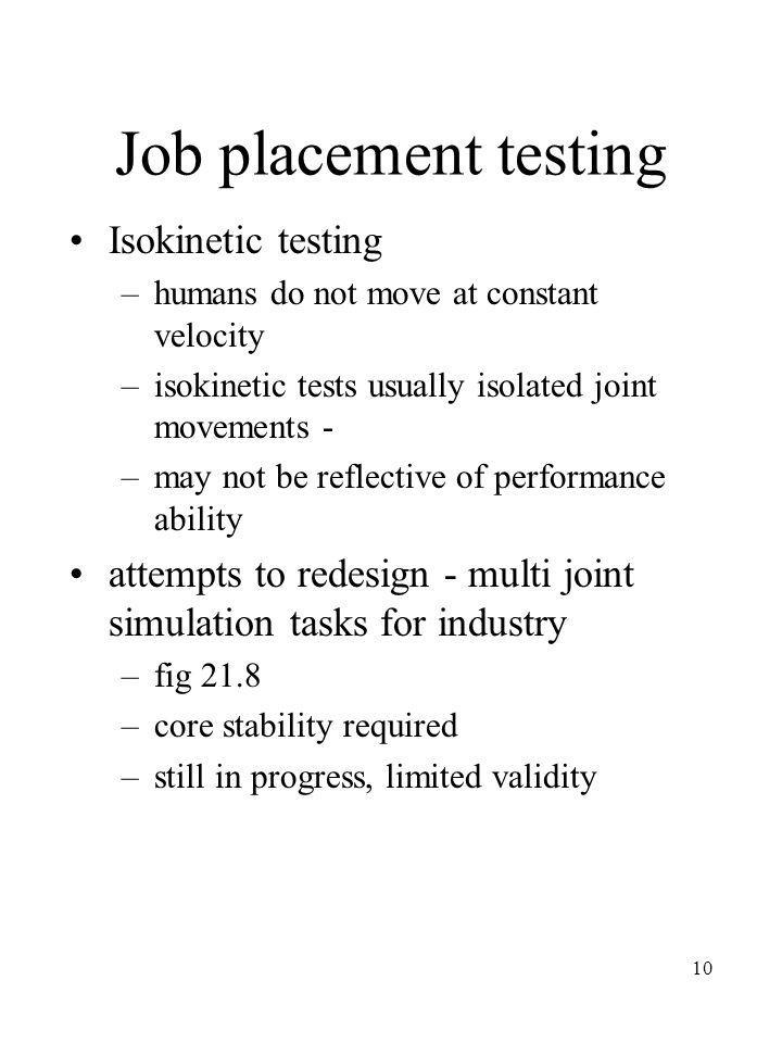 Job placement testing Isokinetic testing