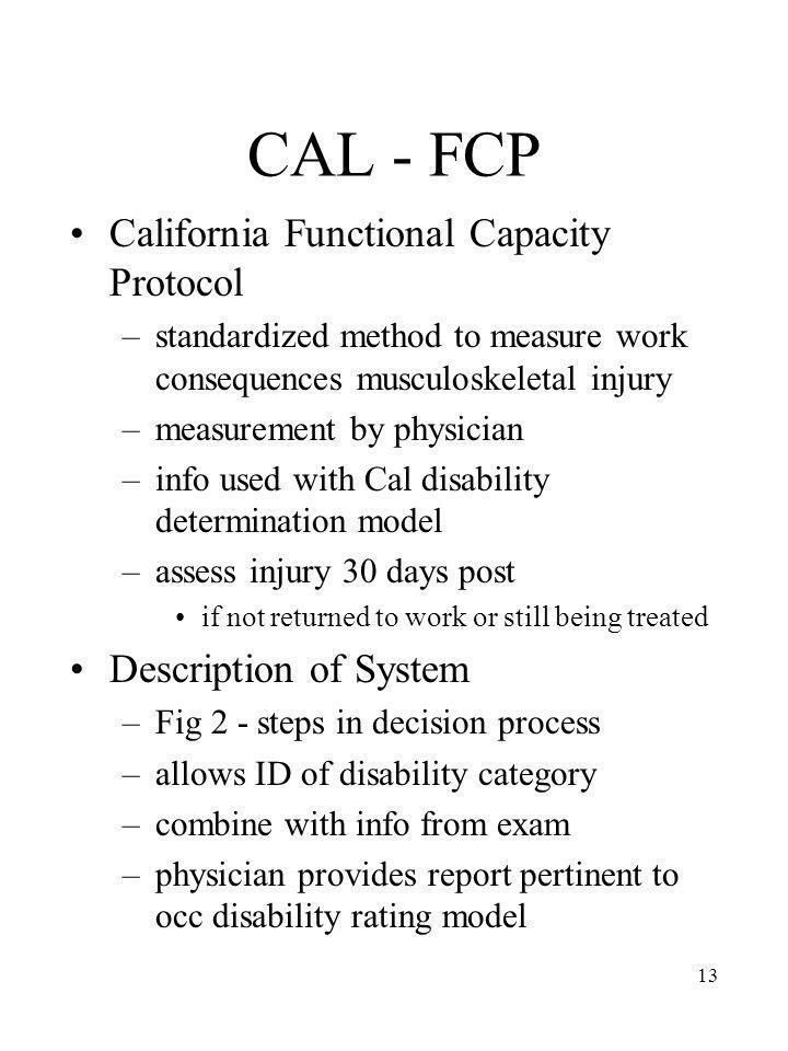 CAL - FCP California Functional Capacity Protocol