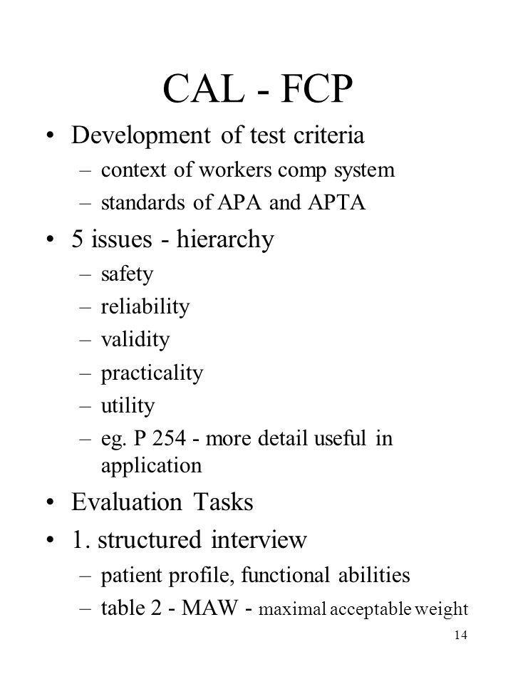 CAL - FCP Development of test criteria 5 issues - hierarchy