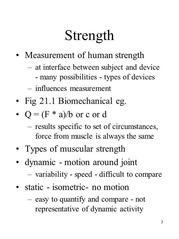 Strength Measurement of human strength Fig 21.1 Biomechanical eg.