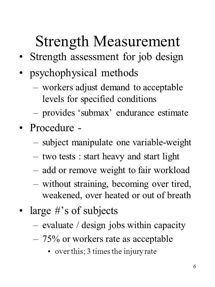 Strength Measurement Strength assessment for job design