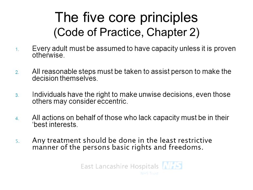The five core principles (Code of Practice, Chapter 2)