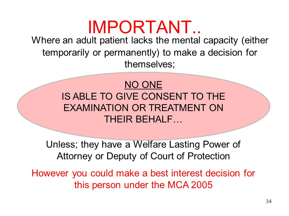 IMPORTANT.. Where an adult patient lacks the mental capacity (either temporarily or permanently) to make a decision for themselves;