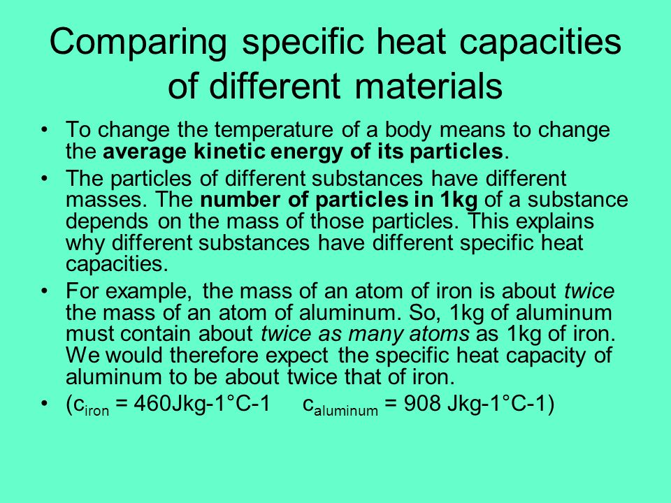 Comparing specific heat capacities of different materials