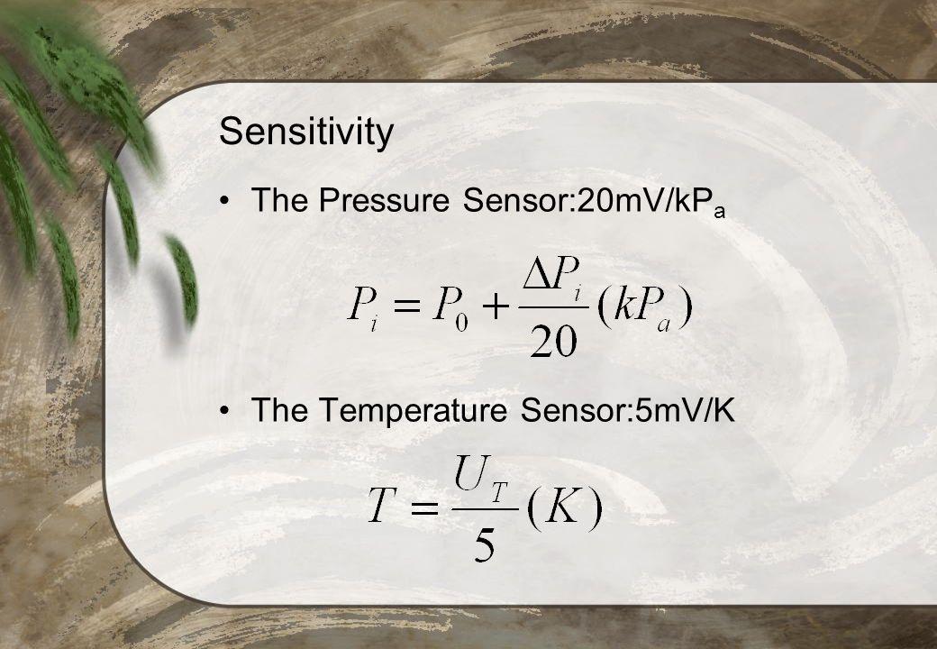 Sensitivity The Pressure Sensor:20mV/kPa The Temperature Sensor:5mV/K