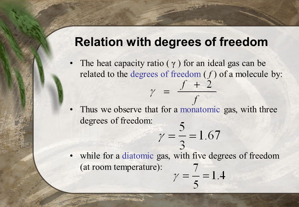 Relation with degrees of freedom
