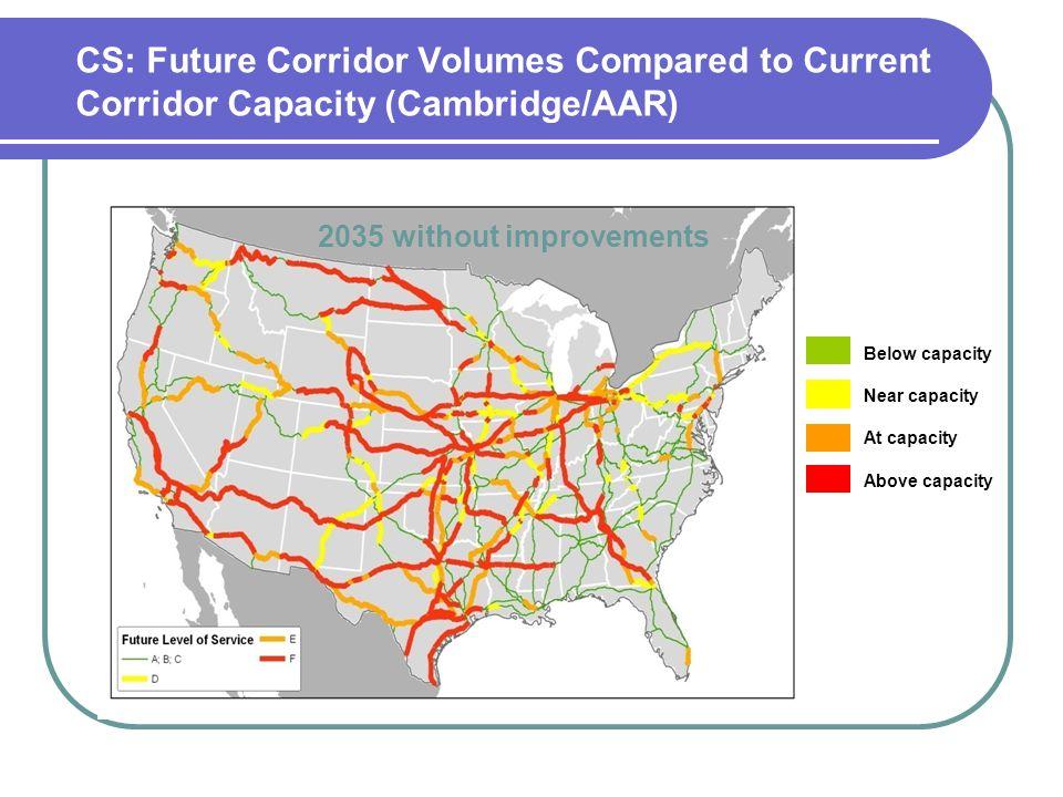 CS: Future Corridor Volumes Compared to Current Corridor Capacity (Cambridge/AAR)