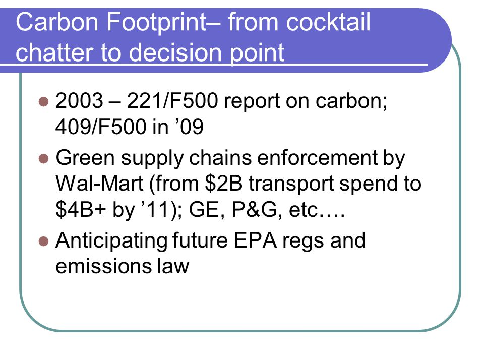 Carbon Footprint– from cocktail chatter to decision point