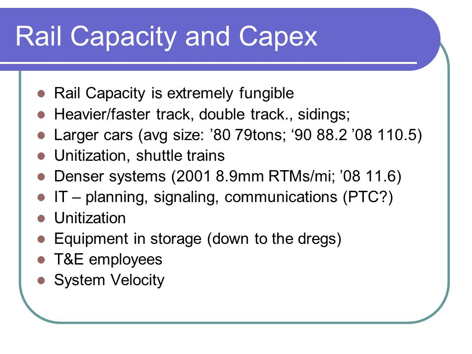 Rail Capacity and Capex