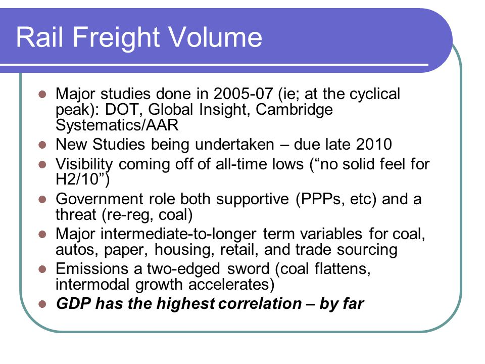 Rail Freight Volume Major studies done in 2005-07 (ie; at the cyclical peak): DOT, Global Insight, Cambridge Systematics/AAR.