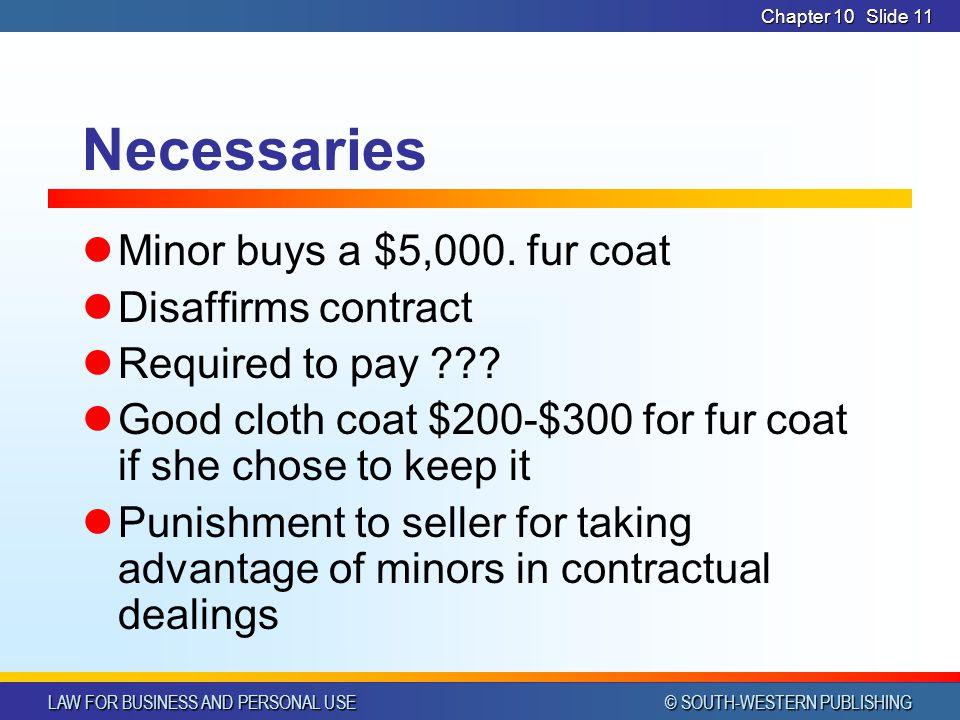 Necessaries Minor buys a $5,000. fur coat Disaffirms contract