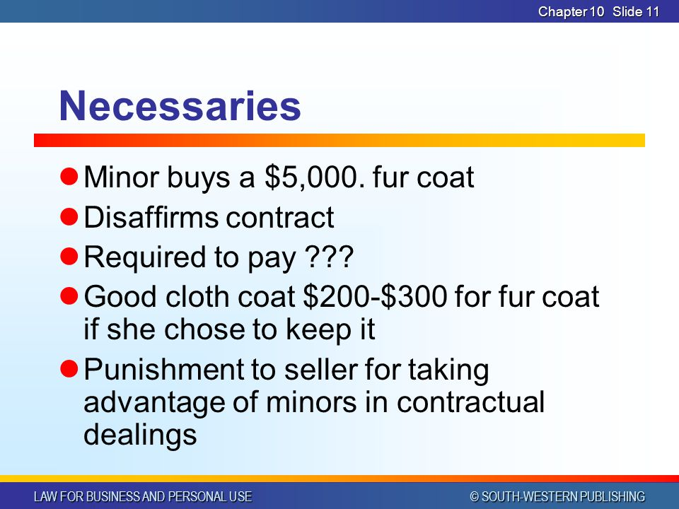 Necessaries Minor buys a $5,000. fur coat Disaffirms contract