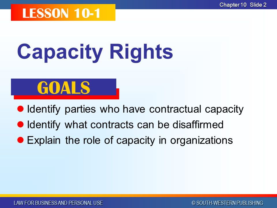Capacity Rights GOALS LESSON 10-1