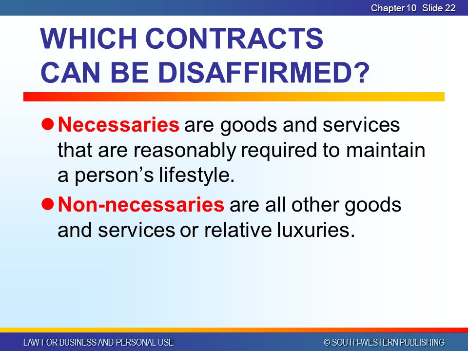 WHICH CONTRACTS CAN BE DISAFFIRMED