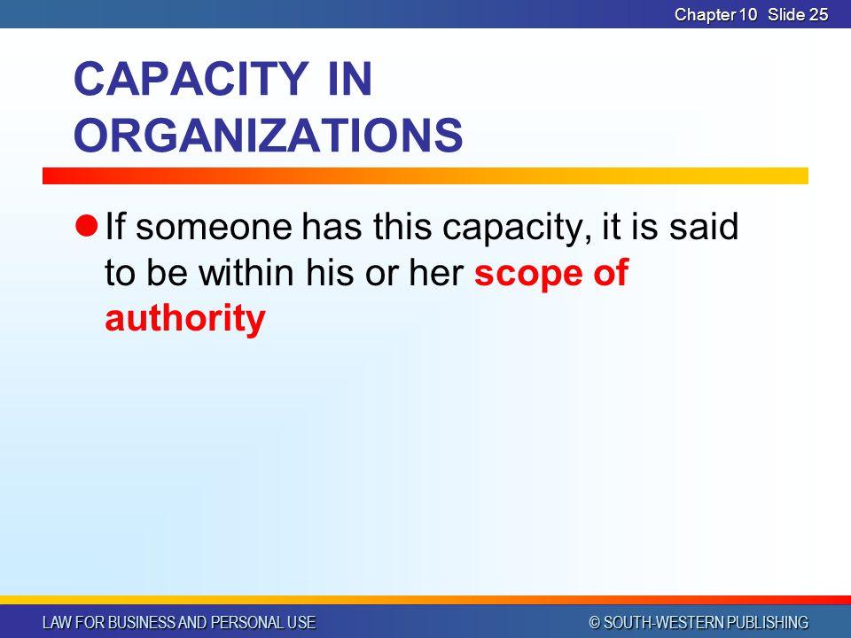CAPACITY IN ORGANIZATIONS
