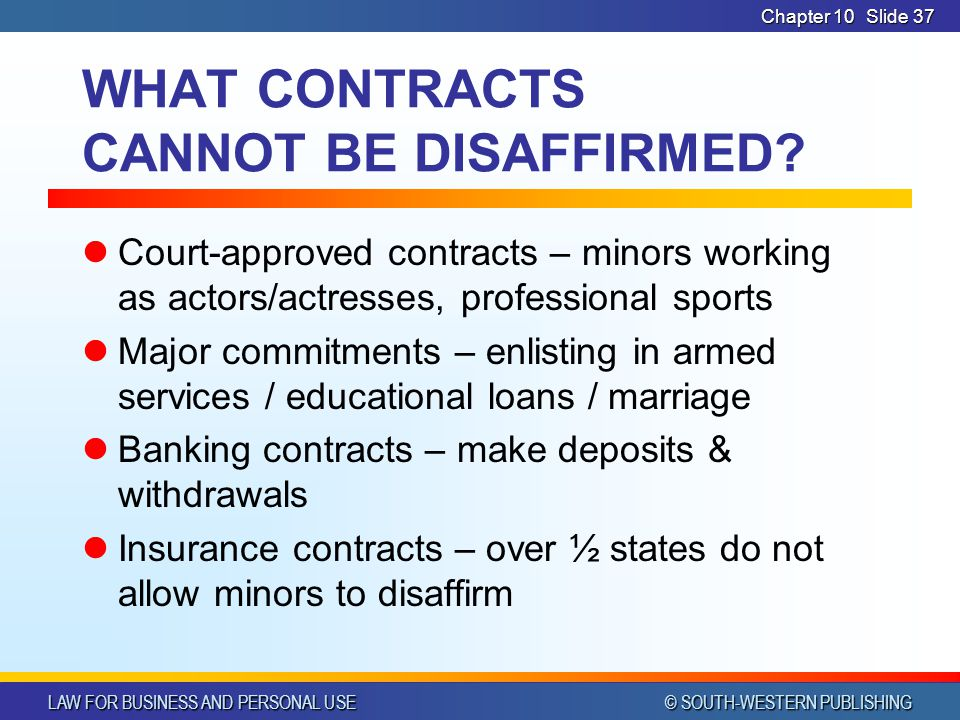 WHAT CONTRACTS CANNOT BE DISAFFIRMED