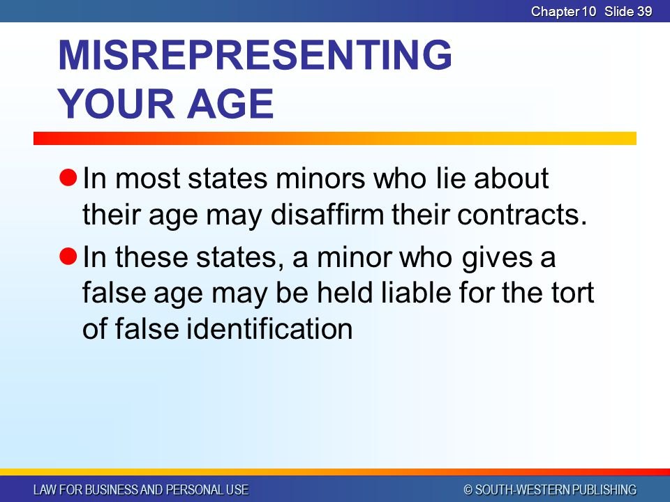 MISREPRESENTING YOUR AGE