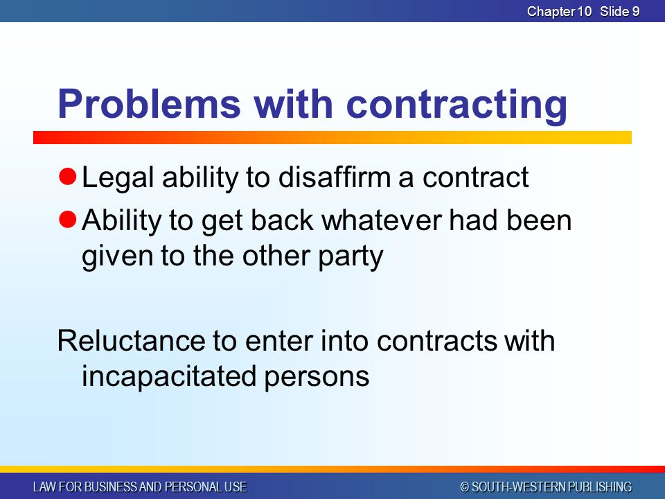 Problems with contracting