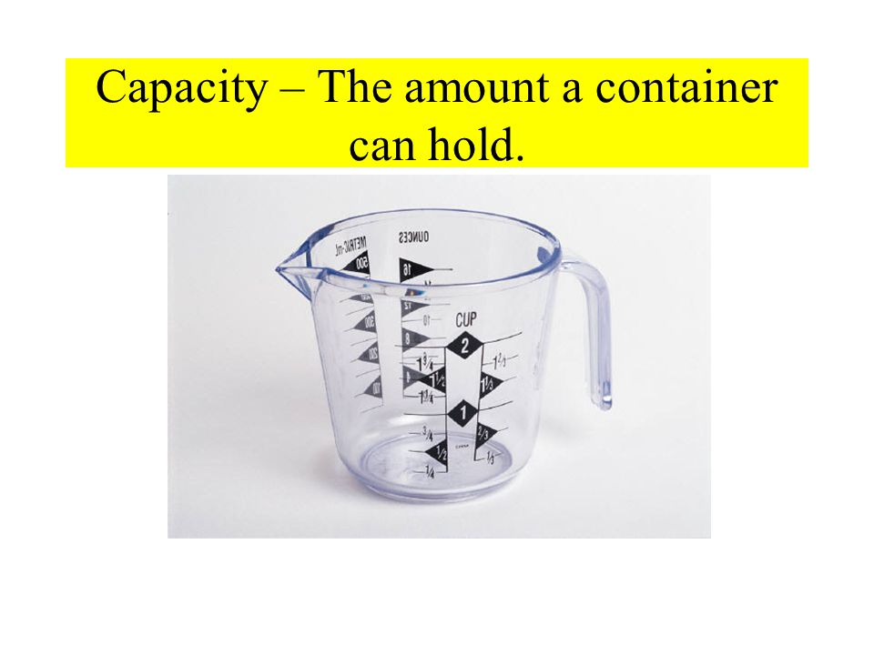 Capacity – The amount a container can hold.