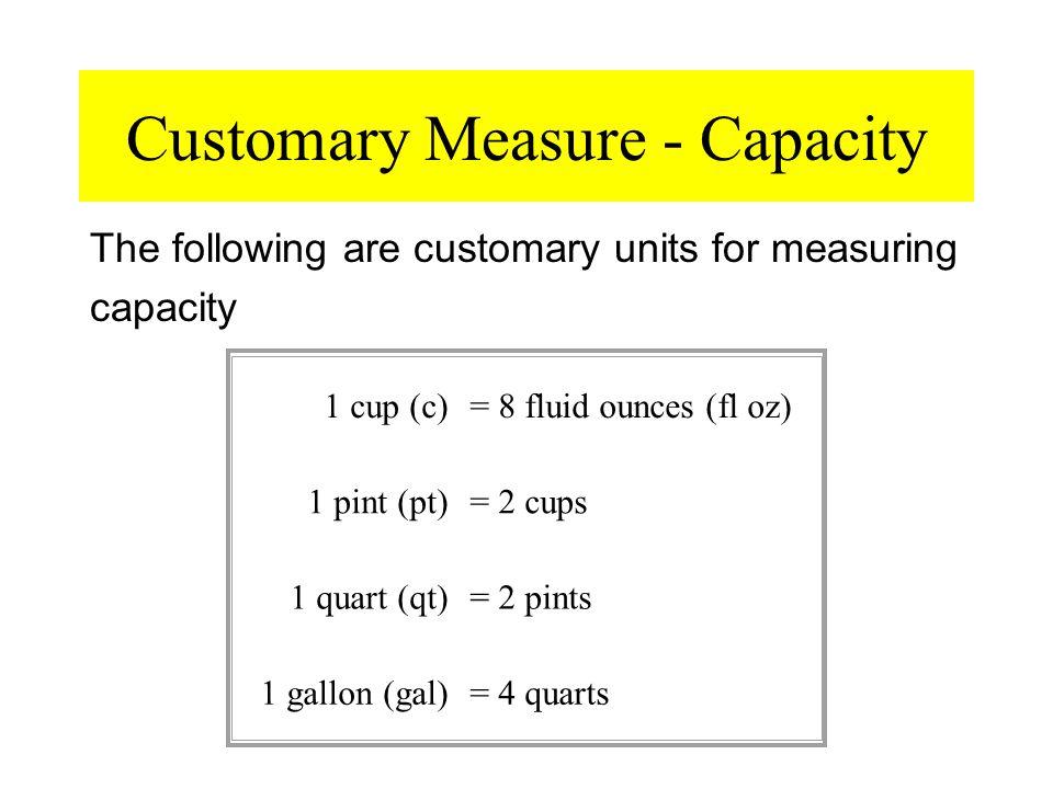 Customary Measure - Capacity