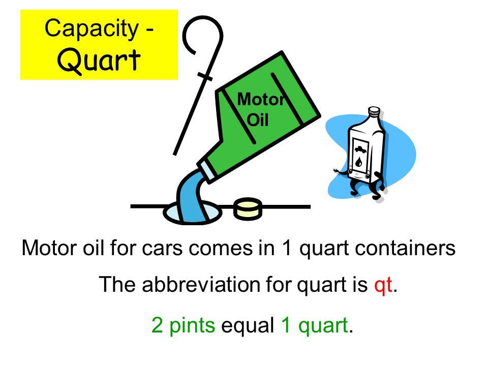 The abbreviation for quart is qt.
