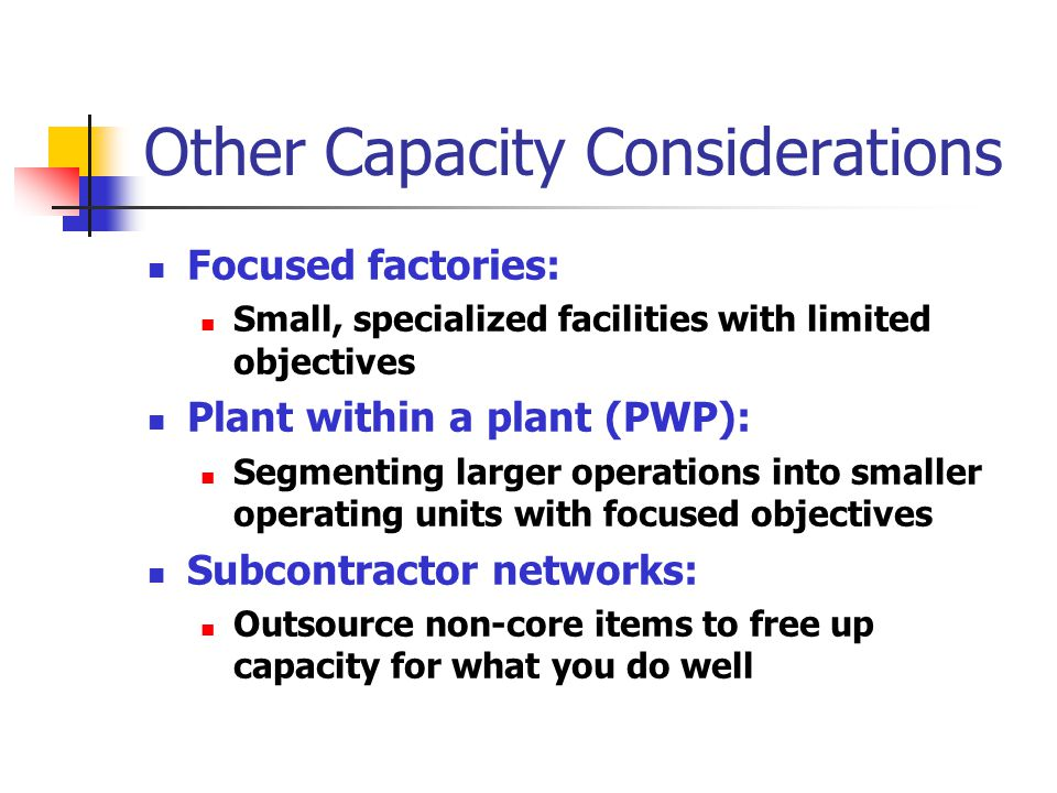 Other Capacity Considerations