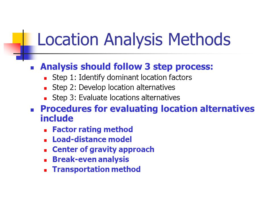 Location Analysis Methods