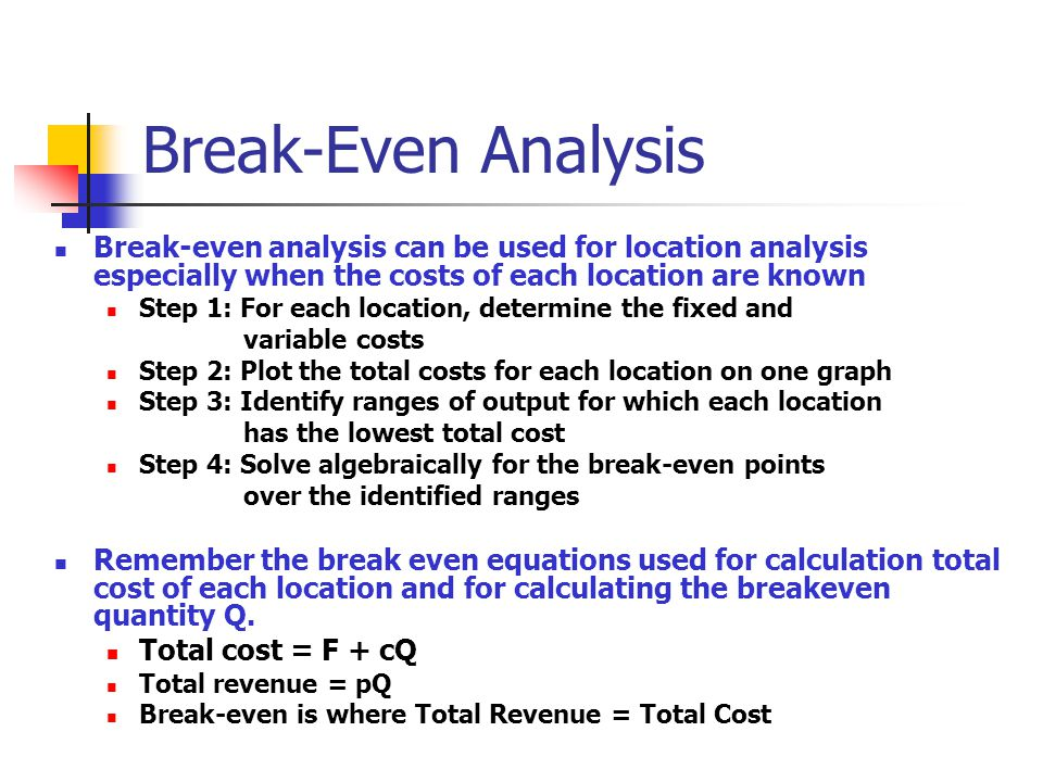 Break-Even Analysis Break-even analysis can be used for location analysis especially when the costs of each location are known.