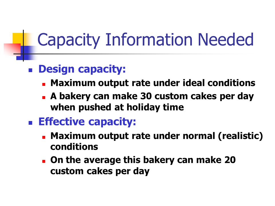 Capacity Information Needed