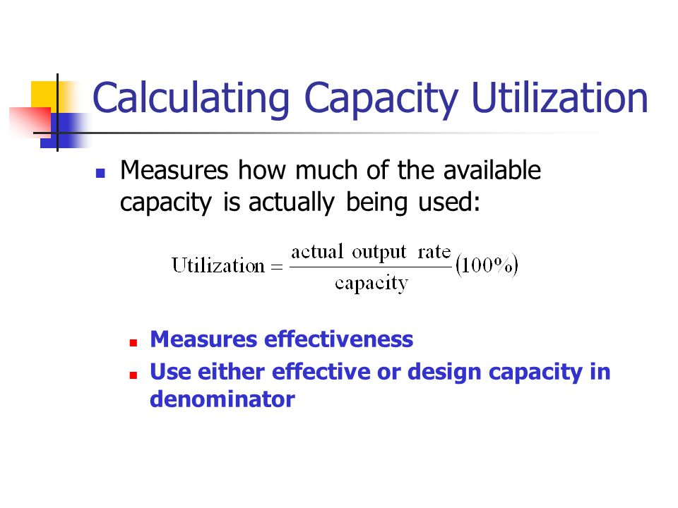 Calculating Capacity Utilization