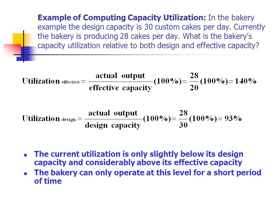 Example of Computing Capacity Utilization: In the bakery example the design capacity is 30 custom cakes per day. Currently the bakery is producing 28 cakes per day. What is the bakery's capacity utilization relative to both design and effective capacity