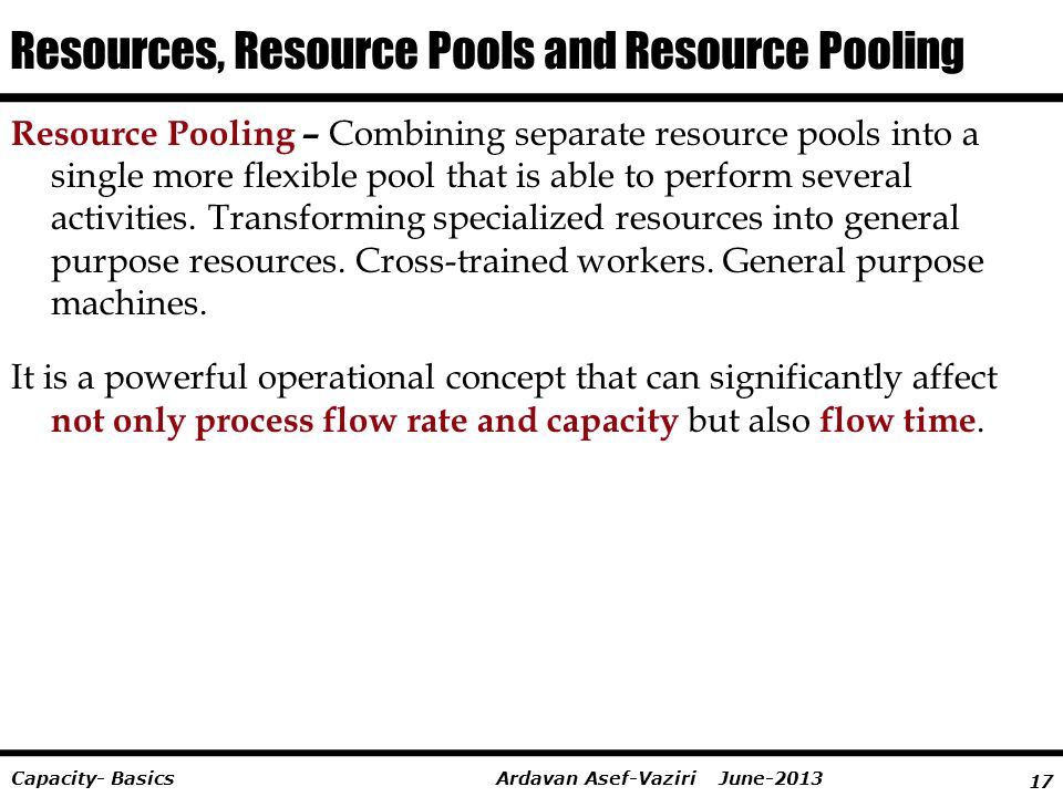 Resources, Resource Pools and Resource Pooling