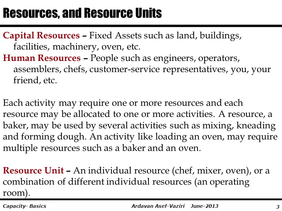 Resources, and Resource Units