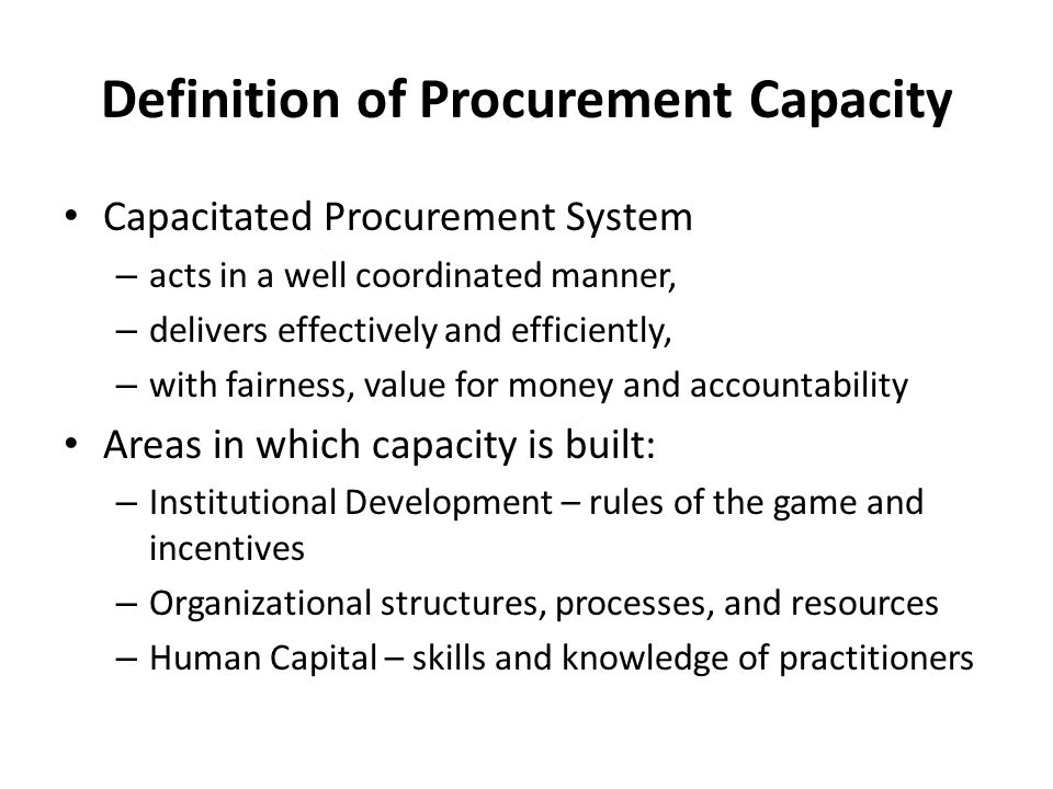 Definition of Procurement Capacity