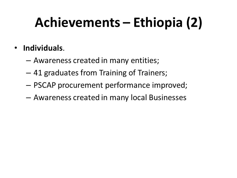 Achievements – Ethiopia (2)
